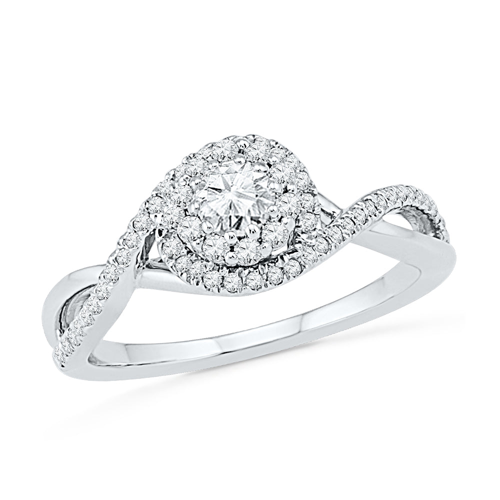 Swirl Halo Engagement Ring Diamond in Sterling Silver-SHRF030703-SS - Jewelry by Johan