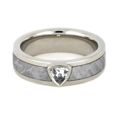 White Sapphire Engagement Ring, Meteorite Wedding Band in 14k White Gold-3461 - Jewelry by Johan