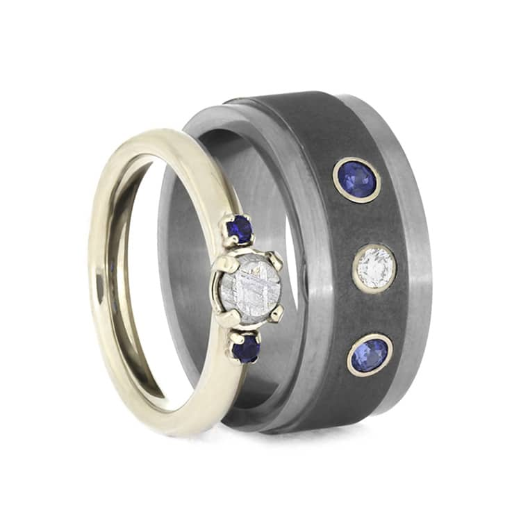 Blue Sapphire Wedding Ring Set, Meteorite Engagement Ring With Titanium Wedding Band-2552 - Jewelry by Johan