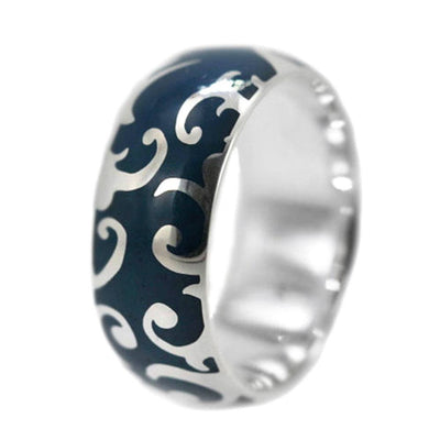 Blue Enamel Ring with Art Nouveau Design in White Gold-3176 - Jewelry by Johan