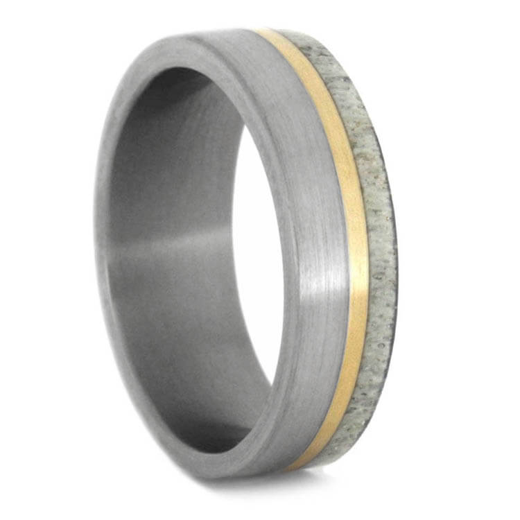 Brushed Titanium Ring With Deer Antler And Yellow Gold Pinstripe