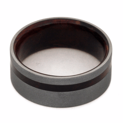 Sandblasted Titanium Wedding Band with Exotic Wood (4)