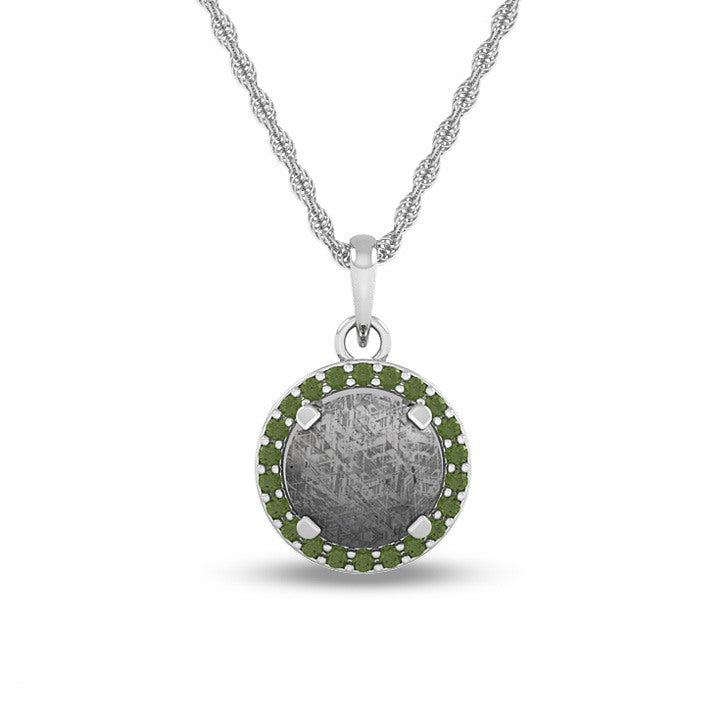 August Birthstone Pendant With Meteorite And Peridot On 14k White Gold Necklace-1684 - Jewelry by Johan