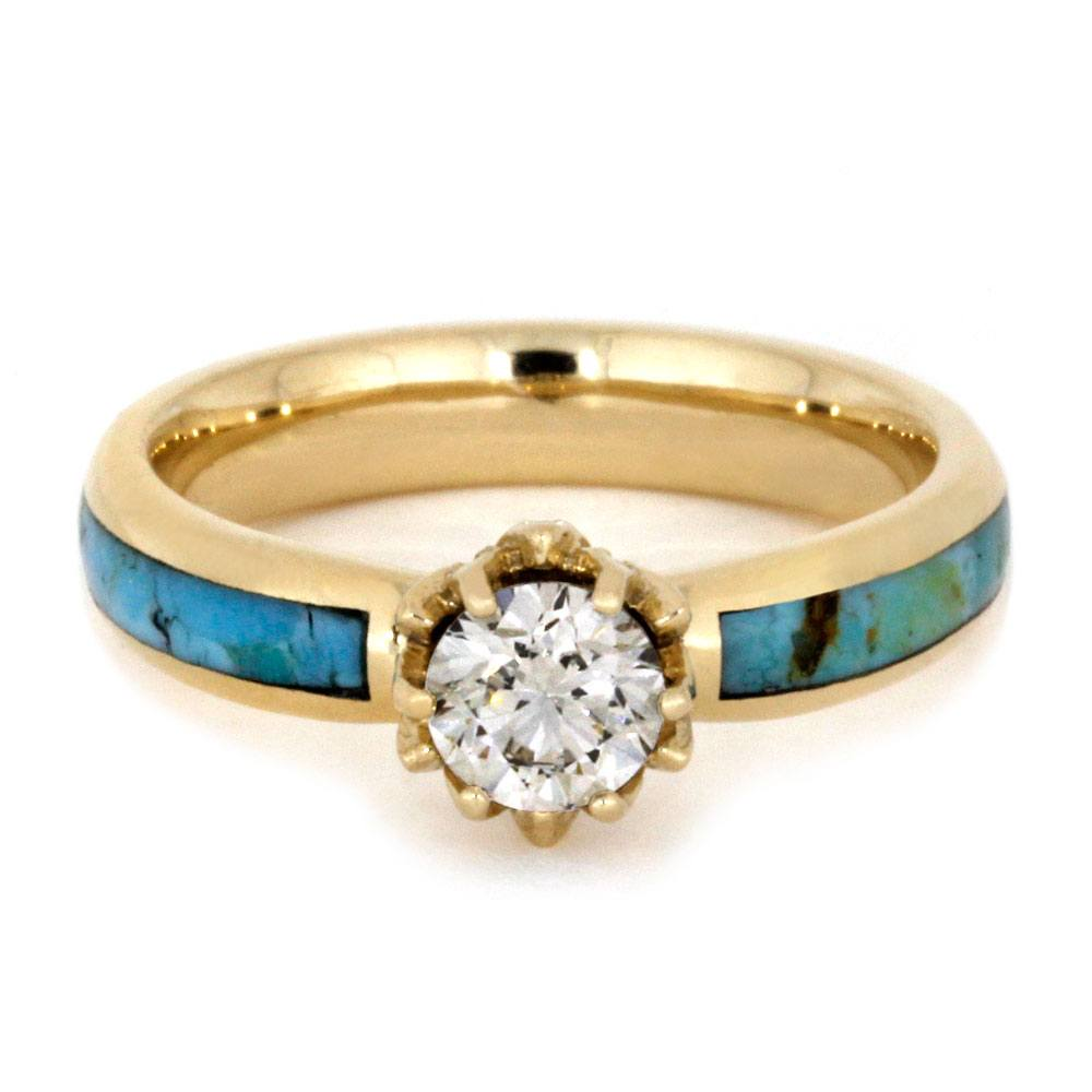 turquoise products antler ring in gold diamond rose engagement deer rings