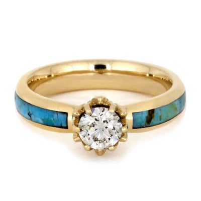 Turquoise Wedding Ring Set, Moissanite Ring With Wood Band - Jewelry ...
