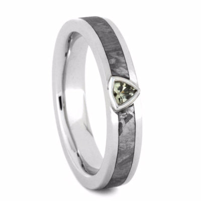 White Sapphire Engagement Ring with Meteorite in Platinum-2246 - Jewelry by Johan