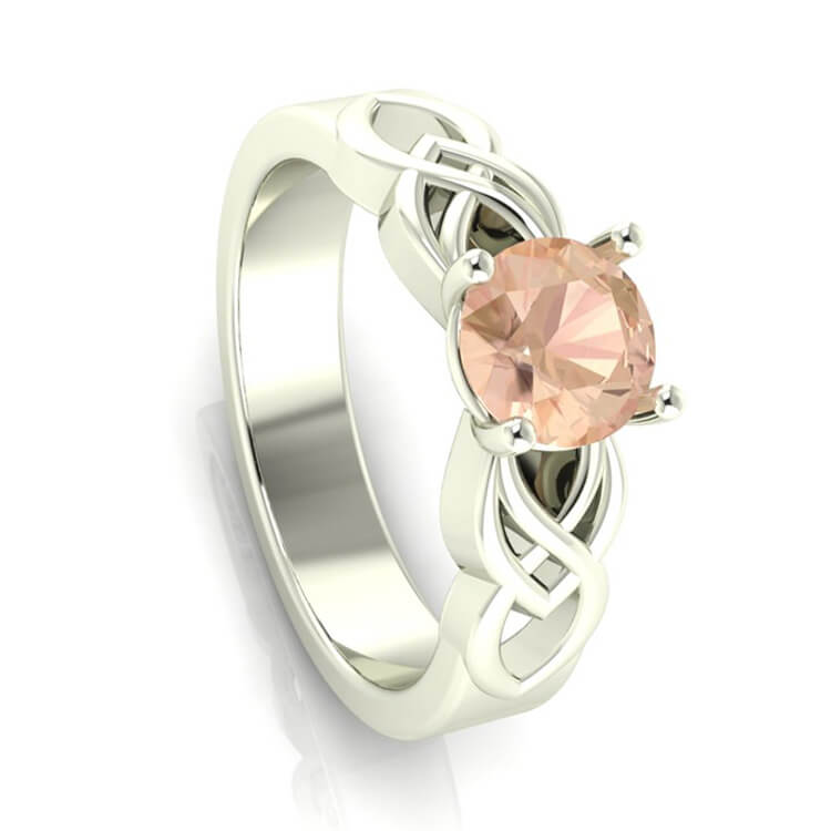 Morganite Engagement Ring in 10k White Gold-3384 - Jewelry by Johan