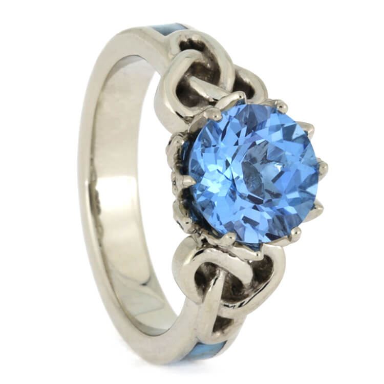 Topaz Engagement Ring With Diamonds, 10k White Gold Ring With Turquoise-2386