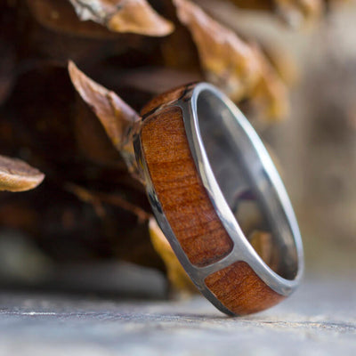 Natural Redwood Ring, Titanium Wedding Band With Partial Wood Inlays-3467