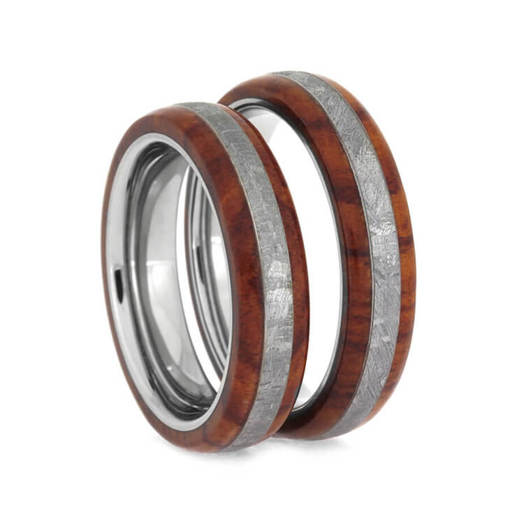 Tulipwood Meteorite Wedding Band Set With Titanium Sleeve, Gibeon Meteorite Rings-2430 - Jewelry by Johan