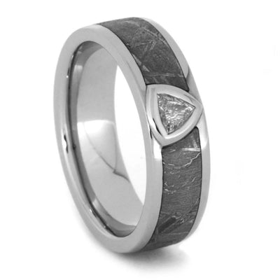 Trillion Cut Diamond Ring Set In Platinum Band With Meteorite-1151 - Jewelry by Johan