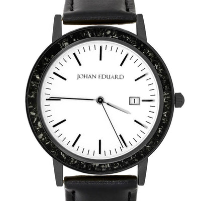 Black Stardust Wristwatch, Meteorite Black Stainless Steel Watch With Leather Strap-JE1003-1