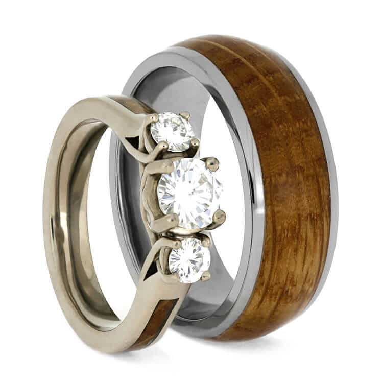 Wood Wedding Ring Set, White Gold And Titanium Rings-3781 - Jewelry by Johan