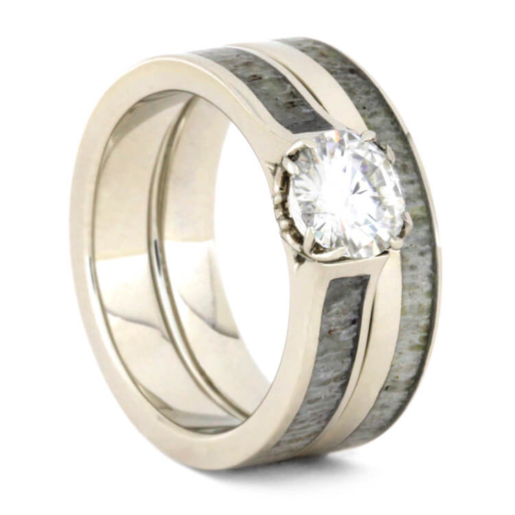 Moissanite Bridal Set, Deer Antler Engagement Ring With Band-3570 - Jewelry by Johan