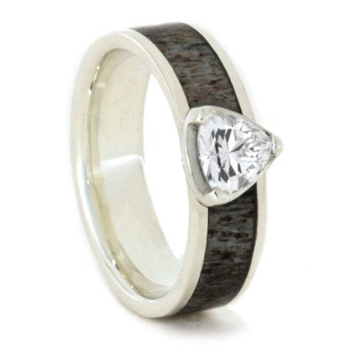 Triangle Stone Wedding Ring In Sterling Silver With Antler-1777 - Jewelry by Johan