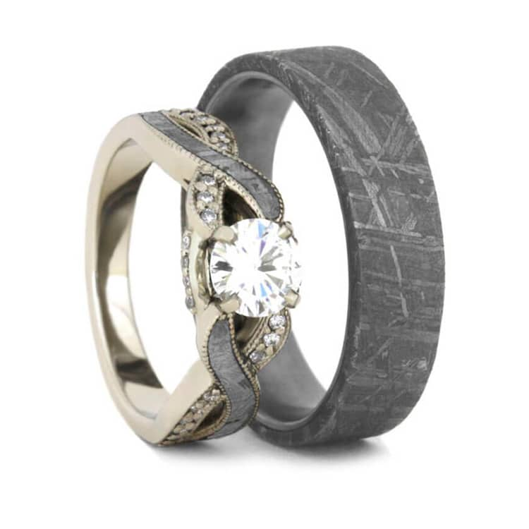 Meteorite Wedding Ring Set, Moissanite Engagement Ring And Men's Band-2301