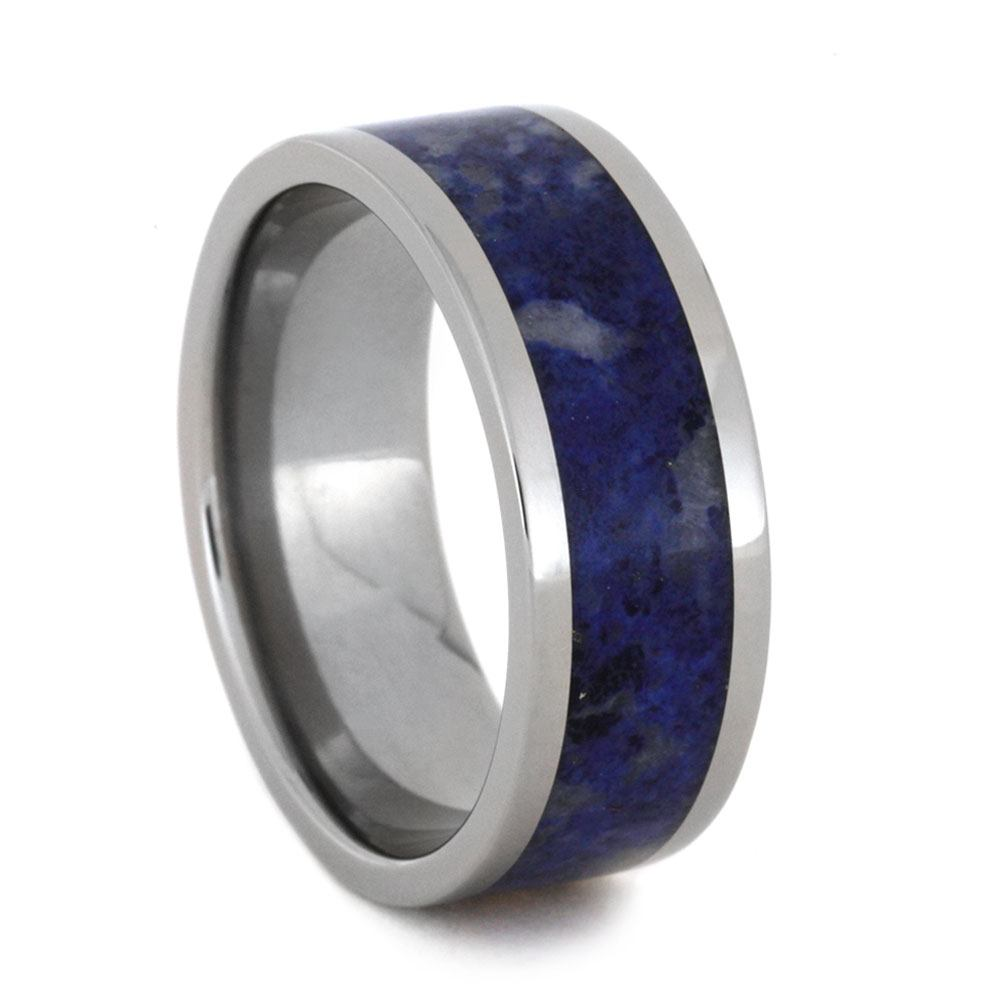 Lapis Lazuli Men's Wedding Band In Titanium, Size 12-RS9212 - Jewelry by Johan