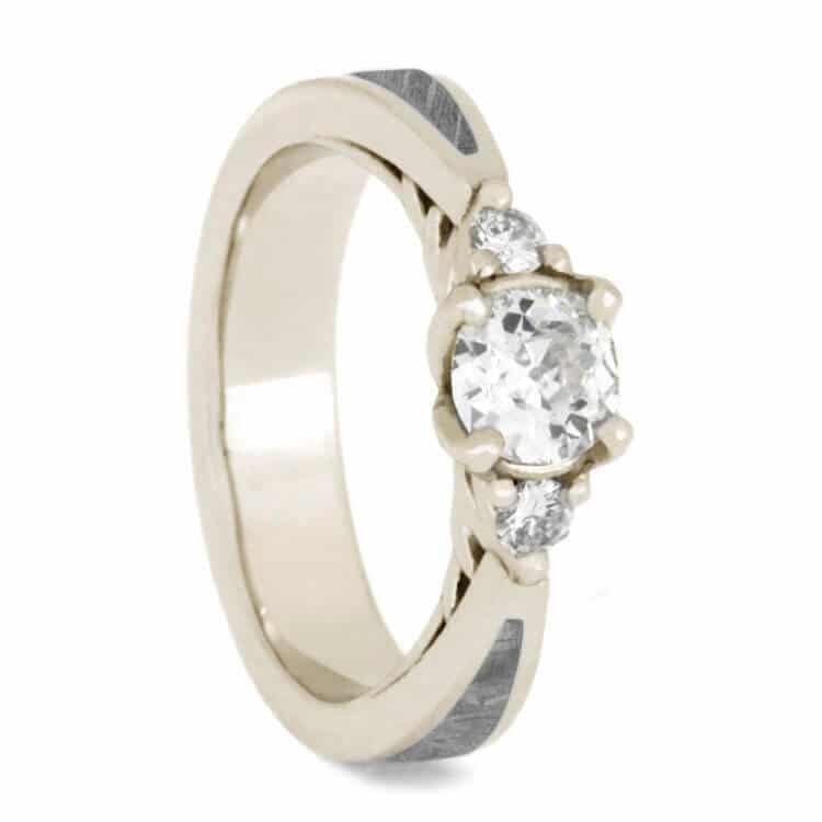 Meteorite Engagement Ring, Three Stone Moissanite in White Gold
