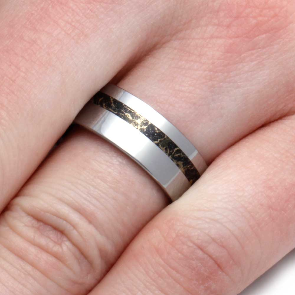 Tungsten Wedding Band with Black and Gold Composite Mokume Gane ...