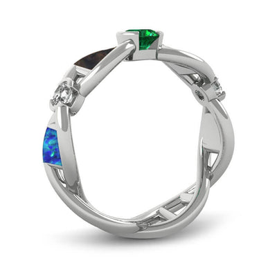 Gemstone Engagement Ring, Unique DNA Ring With Meteorite And Dinosaur Bone-2623 - Jewelry by Johan