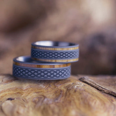 celtic knot wedding band set oak wood and olive wood rings in