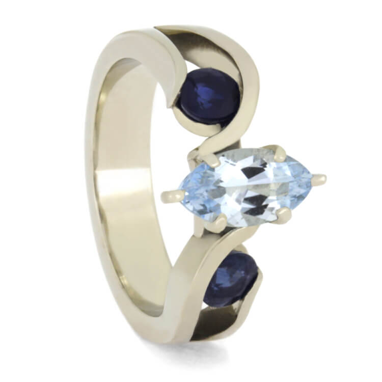 Marquise Cut Engagement Ring With Aquamarine and Blue Sapphires-2522 - Jewelry by Johan
