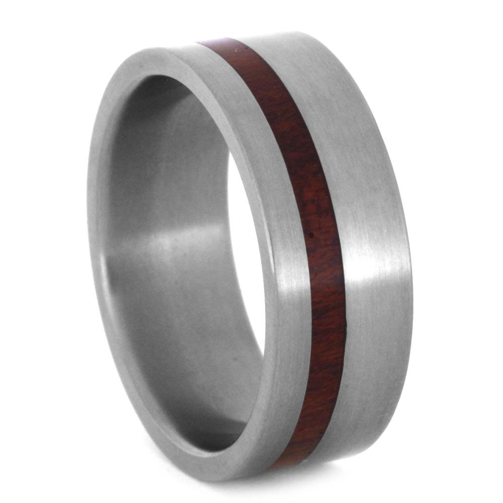 Titanium Wedding Band with Red Wood Stripe