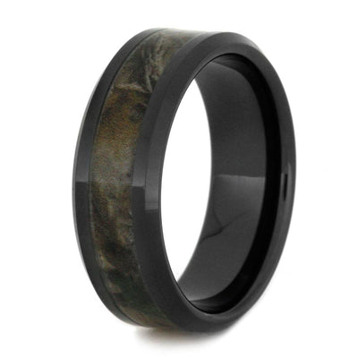 Black Ceramic Wedding Band With Camo Ring Inlay-2892 - Jewelry by Johan