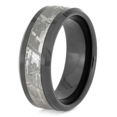 Men's Black Ring With Real Meteorite