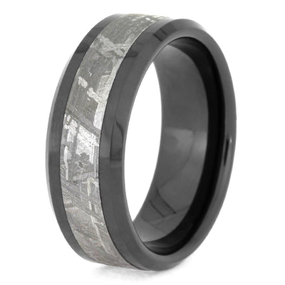 Black Ceramic Ring With Meteorite Inlay And Beveled Edges, Manly Band-1666 - Jewelry by Johan
