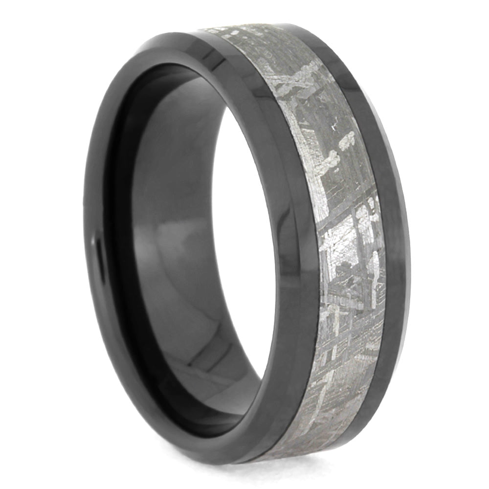 Masculine Men's Wedding Band With Meteorite-SIG3028