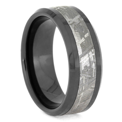 Masculine Men's Wedding Band With Meteorite