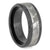 Beveled Black Ceramic Ring With Gibeon Meteorite Inlay-SIG3028