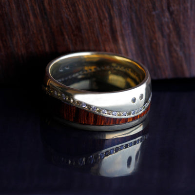 Wood Eternity Wedding Band, Yellow Gold Ring With Gemstones-DJ1017YG - Jewelry by Johan
