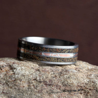 Dinosaur Bone Ring with Copper and Silver Mokume Gane-2020 - Jewelry by Johan