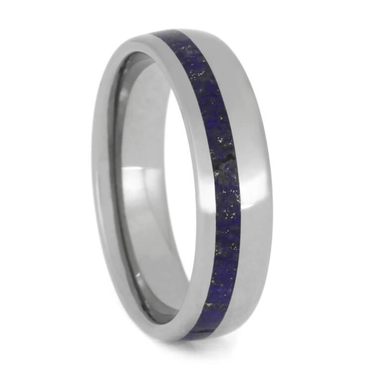 Men's Lapis Lazuli Wedding Band in Titanium, Size 11-RS9959 - Jewelry by Johan