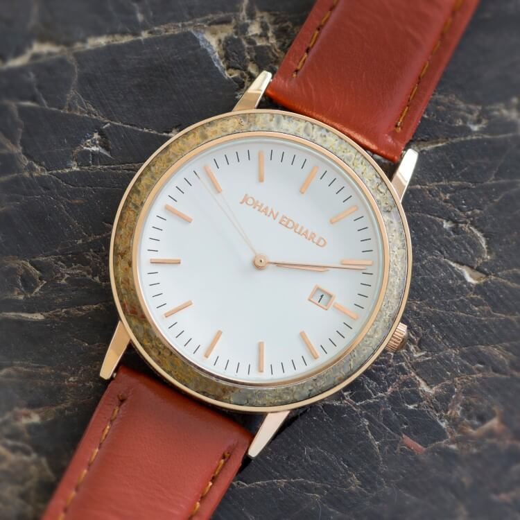 Unique Men's Watch With Dinosaur Bone And Brown Leather Strap