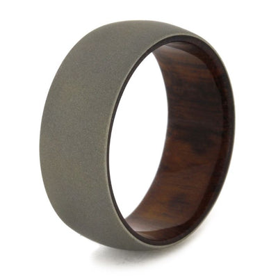 Sandblasted 14k White Gold Wedding Band with Snakewood Sleeve-1851 - Jewelry by Johan