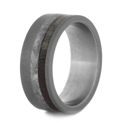 Plus Size Sandblasted Titanium Ring With Meteorite And Dinosaur Bone-3108X - Jewelry by Johan