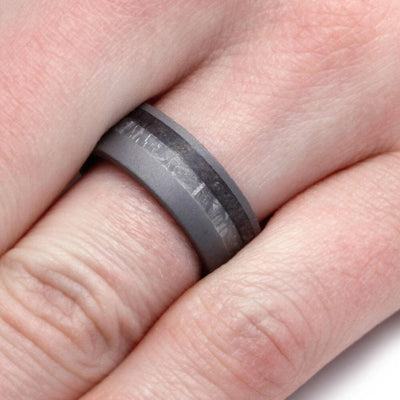 Sandblasted Titanium Ring With Meteorite And Dinosaur Bone-3108 - Jewelry by Johan