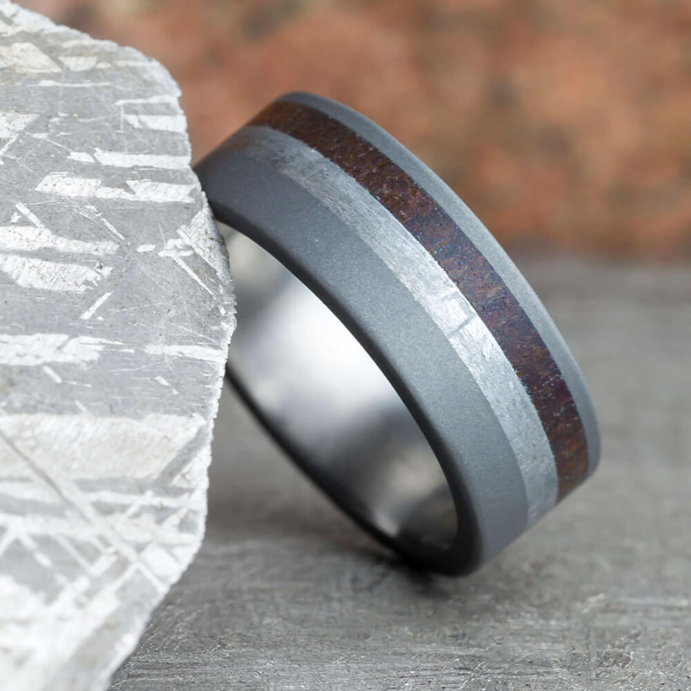 Sandblasted Titanium Ring With Meteorite & Dinosaur Bone-3108 - Jewelry by Johan