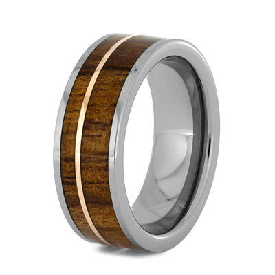 Koa Wood Wedding Band with 14k Rose Gold Pinstripe-3109 - Jewelry by Johan
