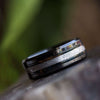 Black Ceramic Wedding Band With Meteorite And Blue Redwood-3137 - Jewelry by Johan