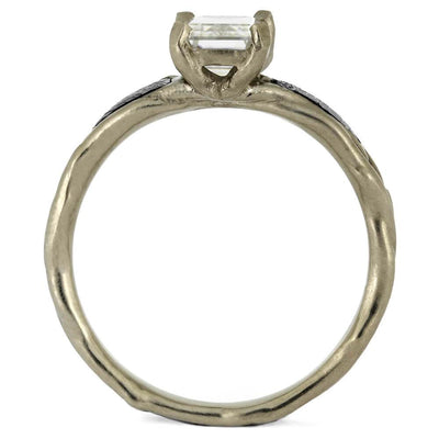 Meteorite Engagement Ring with Forever One Moissanite-3144 - Jewelry by Johan