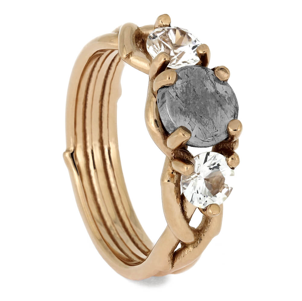 Three Stone Rose Gold Engagement Ring with Meteorite Center Stone-3153RG - Jewelry by Johan