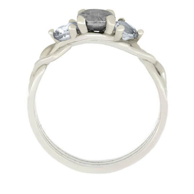 Meteorite Engagement Ring with White Sapphires in Silver Branches-3153 - Jewelry by Johan