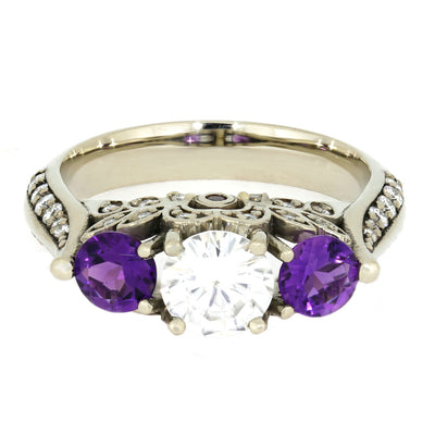 Moissanite and Amethyst Engagement Ring, 10k White Gold Floral Ring-4065 - Jewelry by Johan