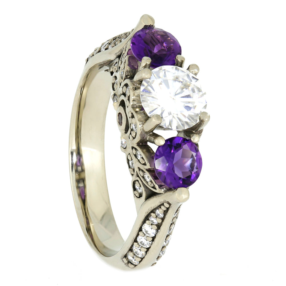 Moissanite and Amethyst Engagement Ring, White Gold Floral Ring-4065 - Jewelry by Johan