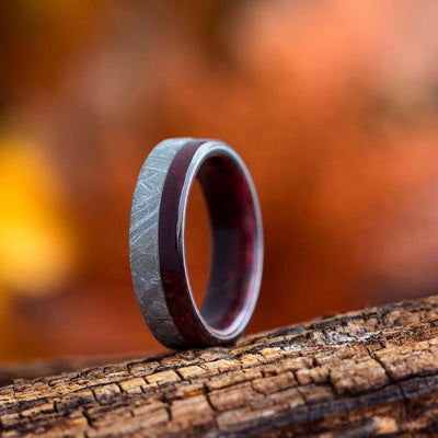 Ruby Redwood Wedding Band With Gibeon Meteorite-3158 - Jewelry by Johan
