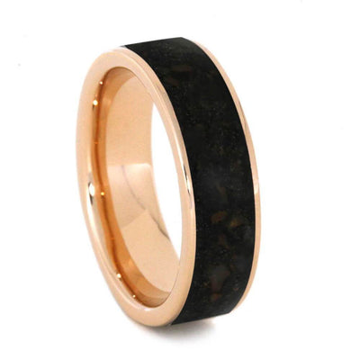 Rose Gold Wedding Band With Genuine Dinosaur Bone-3167 - Jewelry by Johan